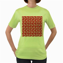Square Flowers Red Women s Green T Shirt