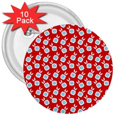Square Flowers Red 3  Buttons (10 Pack)