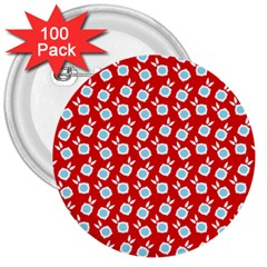 Square Flowers Red 3  Buttons (100 Pack)