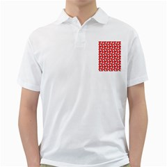 Square Flowers Red Golf Shirts