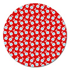 Square Flowers Red Magnet 5  (round)