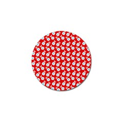 Square Flowers Red Golf Ball Marker