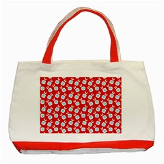 Square Flowers Red Classic Tote Bag (red)