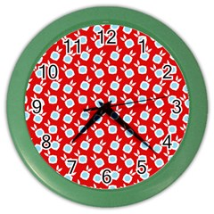 Square Flowers Red Color Wall Clocks