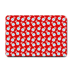 Square Flowers Red Small Doormat