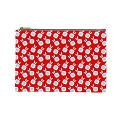 Square Flowers Red Cosmetic Bag (large)