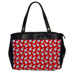 Square Flowers Red Office Handbags