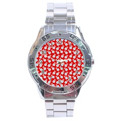 Square Flowers Red Stainless Steel Analogue Watch