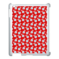 Square Flowers Red Apple Ipad 3/4 Case (white)