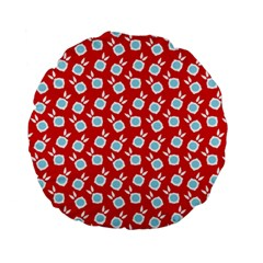 Square Flowers Red Standard 15  Premium Round Cushions