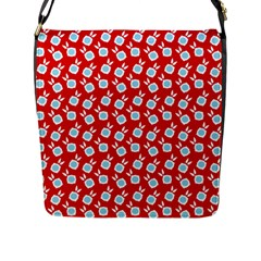 Square Flowers Red Flap Messenger Bag (l)