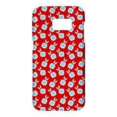 Square Flowers Red Samsung Galaxy S7 Hardshell Case