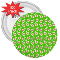 Square Flowers Green 3  Buttons (100 Pack)