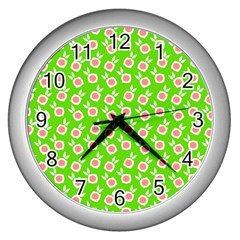 Square Flowers Green Wall Clocks (silver)