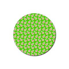 Square Flowers Green Rubber Round Coaster (4 Pack)