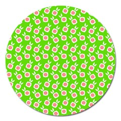 Square Flowers Green Magnet 5  (round)
