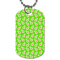 Square Flowers Green Dog Tag (one Side)