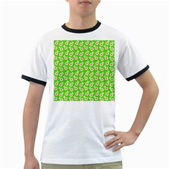 Square Flowers Green Ringer T Shirts