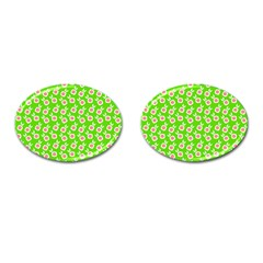 Square Flowers Green Cufflinks (oval)