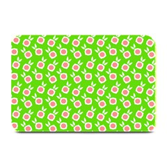 Square Flowers Green Plate Mats
