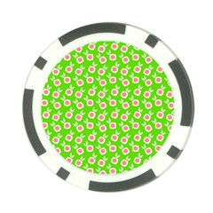 Square Flowers Green Poker Chip Card Guard