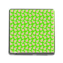 Square Flowers Green Memory Card Reader (square)