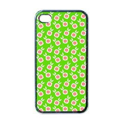 Square Flowers Green Apple Iphone 4 Case (black)