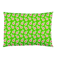 Square Flowers Green Pillow Case (two Sides)