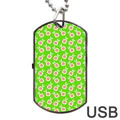 Square Flowers Green Dog Tag Usb Flash (one Side)