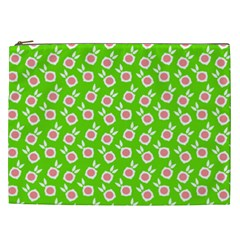 Square Flowers Green Cosmetic Bag (xxl)