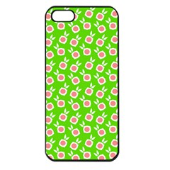 Square Flowers Green Apple Iphone 5 Seamless Case (black)