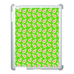 Square Flowers Green Apple Ipad 3/4 Case (white)