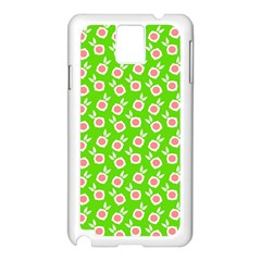 Square Flowers Green Samsung Galaxy Note 3 N9005 Case (white)