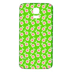 Square Flowers Green Samsung Galaxy S5 Back Case (white)
