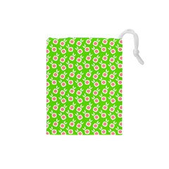Square Flowers Green Drawstring Pouches (small)