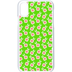 Square Flowers Green Apple Iphone X Seamless Case (white)