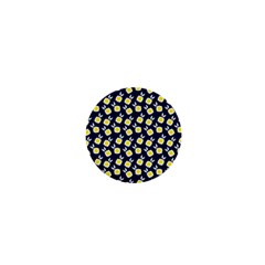 Square Flowers Navy Blue 1  Mini Magnets