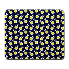 Square Flowers Navy Blue Large Mousepads