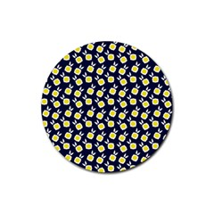 Square Flowers Navy Blue Rubber Coaster (round)