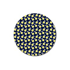 Square Flowers Navy Blue Magnet 3  (round)