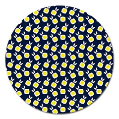 Square Flowers Navy Blue Magnet 5  (round)
