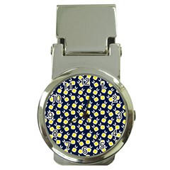 Square Flowers Navy Blue Money Clip Watches