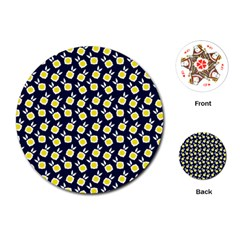 Square Flowers Navy Blue Playing Cards (round)