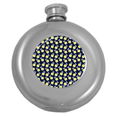 Square Flowers Navy Blue Round Hip Flask (5 Oz)