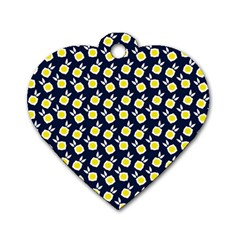 Square Flowers Navy Blue Dog Tag Heart (one Side)
