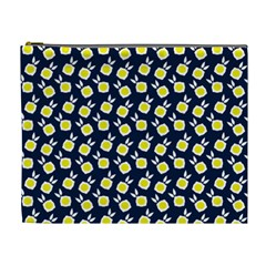 Square Flowers Navy Blue Cosmetic Bag (xl)
