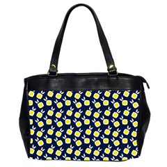 Square Flowers Navy Blue Office Handbags (2 Sides)