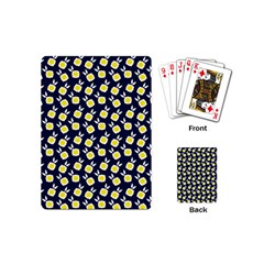 Square Flowers Navy Blue Playing Cards (mini)