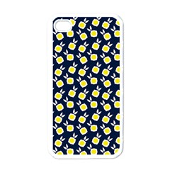 Square Flowers Navy Blue Apple Iphone 4 Case (white)