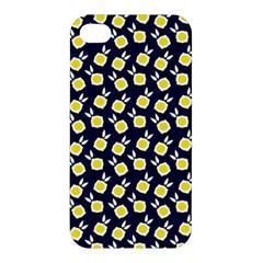 Square Flowers Navy Blue Apple Iphone 4/4s Hardshell Case